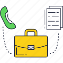 business, call, documents, phone, suitcase icon