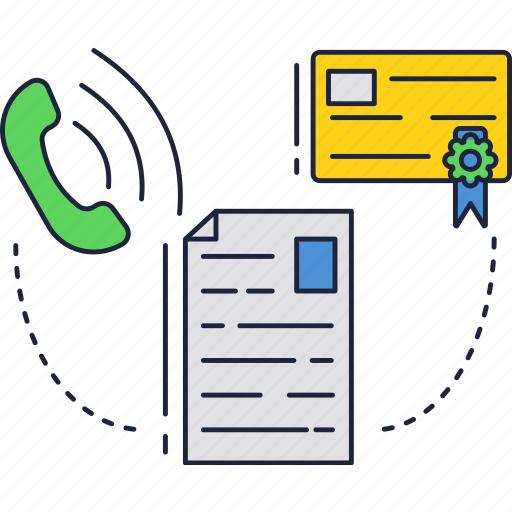 call, certificate, document, label, phone icon
