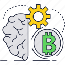 bitcoin, blockchain, brain, cryptocurrency, gear, technology icon