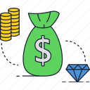 bag, coins, diamond, dollar, jewelry, money, stack icon