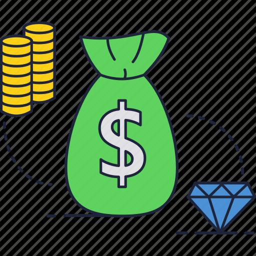 bag, coins, diamond, dollar, jewelry, money, stack icon