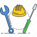 fix, hard, hat, repair, screwdriver, support, wrench icon