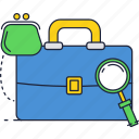 business, magnifier, money, suitcase, wallet icon