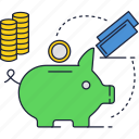 coins, money, piggy, safe, savings icon
