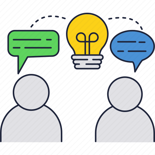 bulb, chat, exchange, ideas, light, messages, people icon