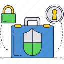 business, lock, safe, secure, suitcase icon