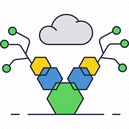 blockchain, cloud, internet, network, storage, tech, technology icon