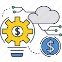 cloud, dollar, internet, investment, money, secure icon