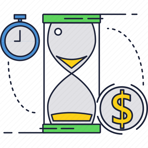 clock, dollar, fast, money, sand, service, timer icon