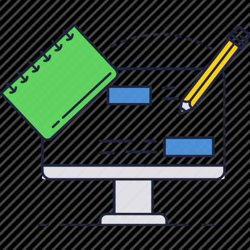 computer, notebook, pen icon