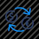 convert, dollar, exchange, money, transfer icon