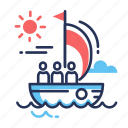 boat, development, direction, location, navigation, sea, sun icon