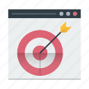 bullseye, dartboard, focus, marketing, page, target icon