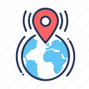 earth, gps, location, map, navigation, pin, world icon