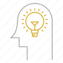 bulb, creative, head, idea icon