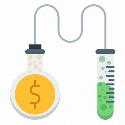 business, lab tube, money, research icon
