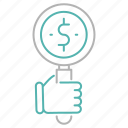 business, dollar, money, search, strategy icon