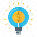 bulb, business, idea, marketing, money icon