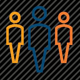 audience, colleague, corporate, crowd, focus group, join, leadership, membership, priority, ranks, referral, resources, society, staff, target audience, team, volunteer icon