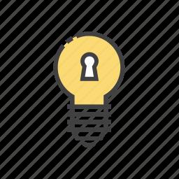 analytics, bulb, business, idea, key icon