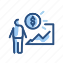 chart, money, person, presentation icon