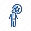 bookmark, person, star, target icon