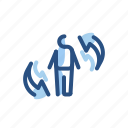 arrow, exchange, person, transfer icon