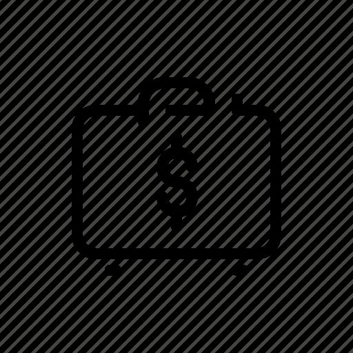 business, dollar, finance, money, suitcase icon