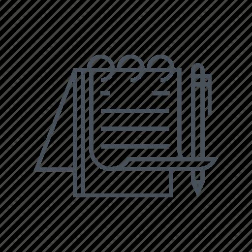 note, notebook, paper, pen, pencil, schedule, sketch icon