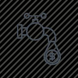 business, flow, money, money flow, save money, valve icon