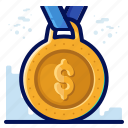 award, dollar, finance, medal, reward