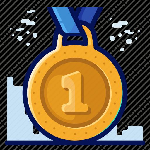 award, first, medal, one, reward icon