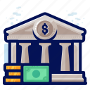 bank, building, finance, money icon