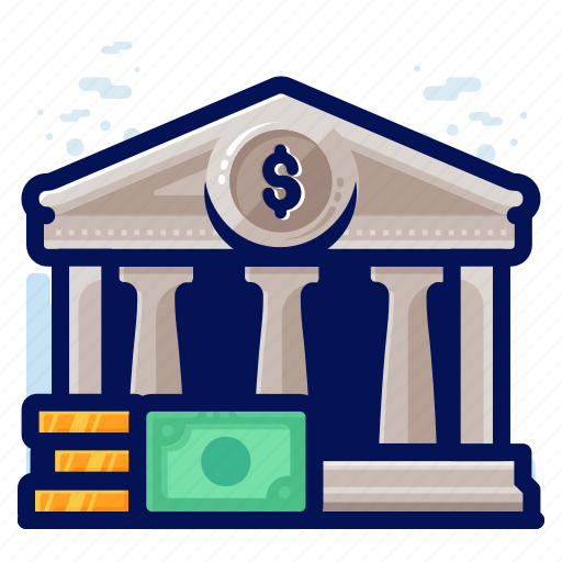 bank, building, finance, money icon