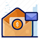 business, dollar, email, memo, message icon