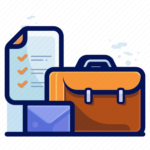 business, checklist, email, suitcase icon