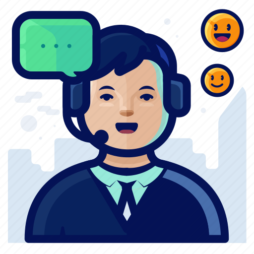 business, customer, man, service, support icon
