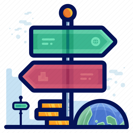 business, directions, global, navigation, pointer icon