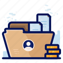 employee, file, folder, personal icon