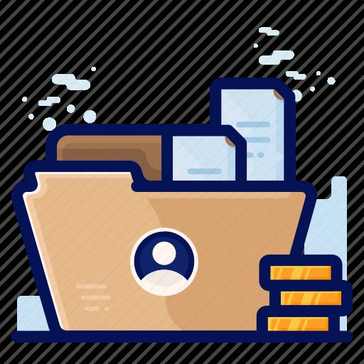 employee, file, folder, personal icon