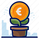 euro, finance, growth, money icon