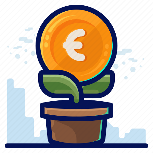 euro, finance, growth, money icon
