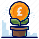 copy, finance, growth, pound icon