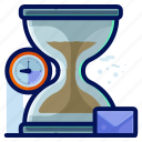 business, deadline, hourglass, message, time, timer icon