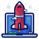 business, computer, laptop, launch, rocket icon