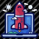 business, computer, laptop, launch, rocket