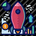 analytics, business, launch, rocket, statistics icon
