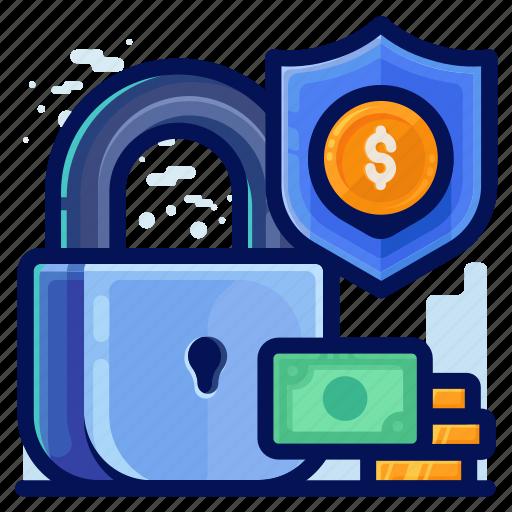 finance, lock, money, protection, security icon