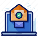 email, laptop, memo, message icon