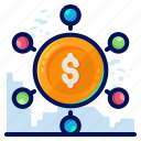 business, dollar, finance, money, transfer icon